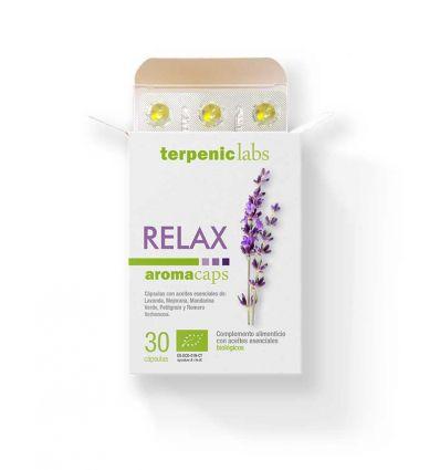 Relax (cápsulas con aceites esenciales) BIO Marca:Terpenic Lab Cápsulas 100 % naturales, en una base de aceite de oliva orgánico con una mezcla de aceites esenciales BIO 100% puros.