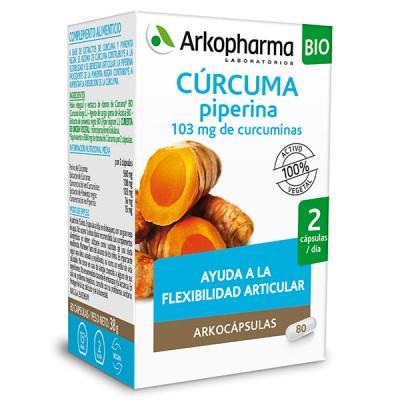 Arkocápsulas® Cúrcuma es un complemento alimenticio a base de extractos de cúrcuma y pimienta negra. El rizoma de cúrcuma contribuye a la flexibilidad y el bienestar articular. La piperina procedente de la pimienta negra contribuye a aumentar la absorción de la cúrcuma.