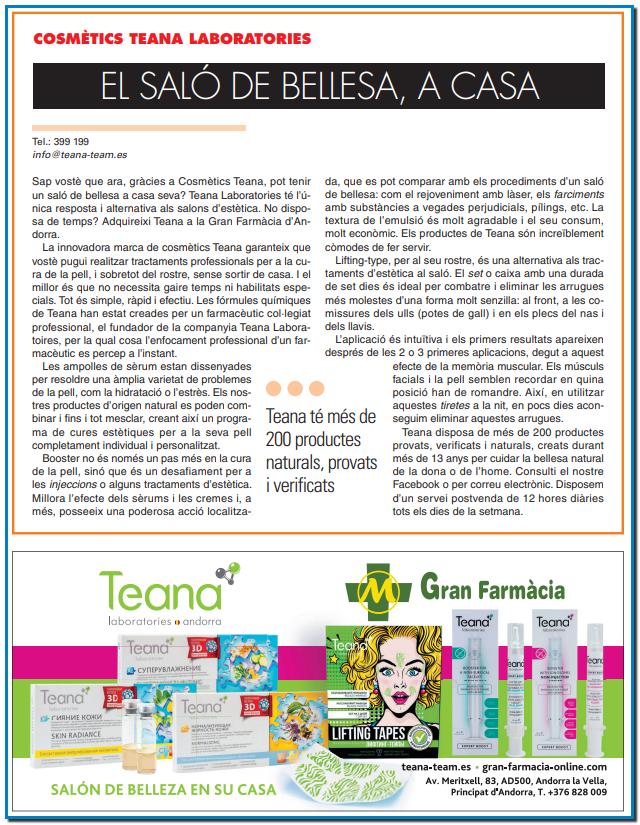 La innovadora marca de cosmètics Teana garanteix que vostè pugui realitzar tractaments professionals per a la cura de la pell i sobretot la pell del rostre sense sortir de casa