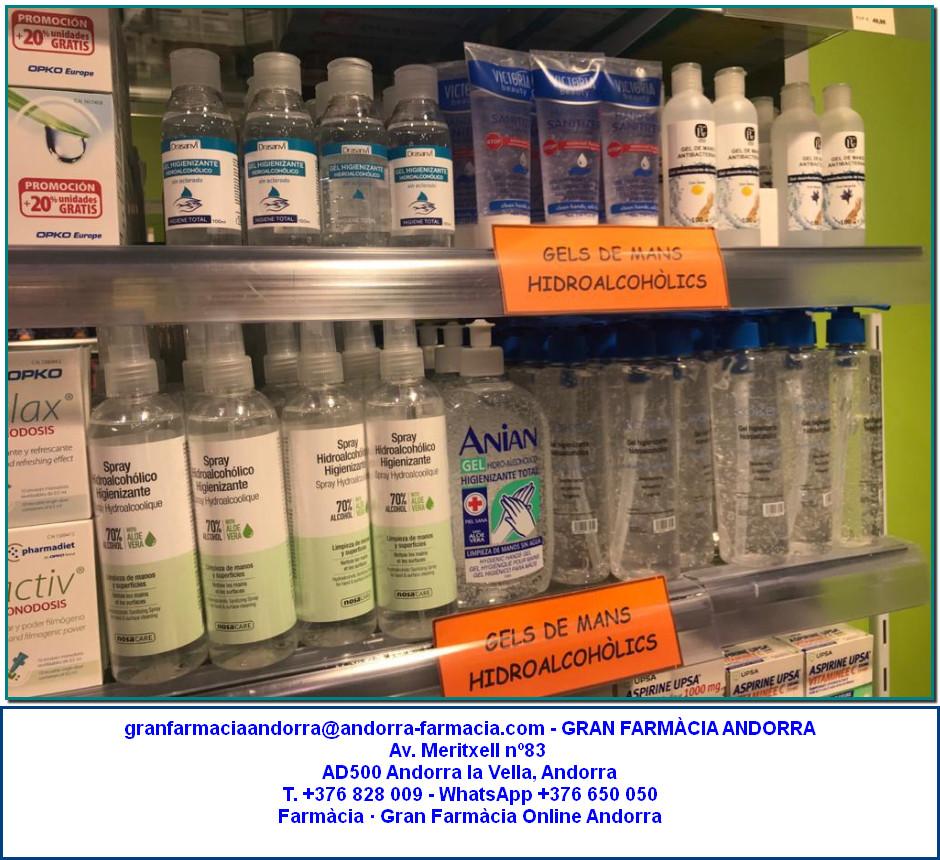Comprar Gels de mans antisèptic hidroalcohòlics a Gran Farmàcia Andorra Online