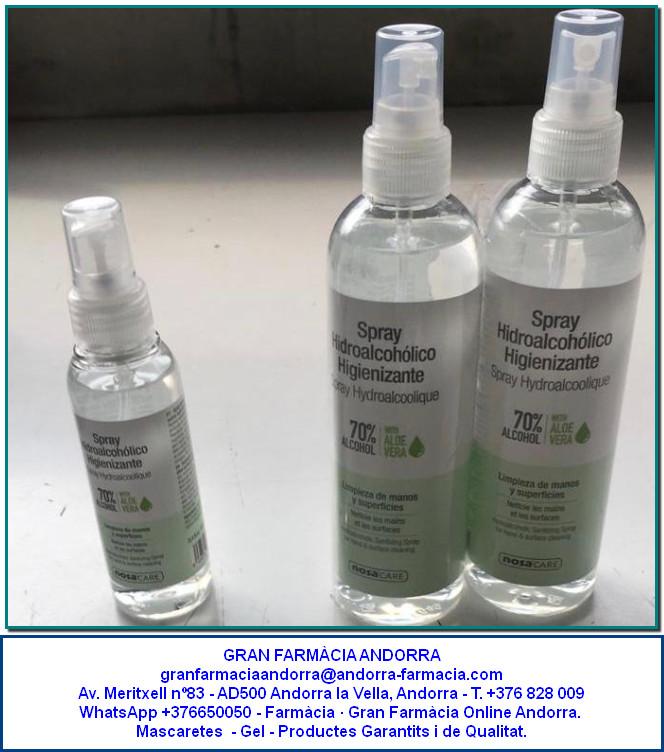 Gel hidroalcohòlic per a tota classe de superfícies i per a les mans. Per a una bona desinfecció de mans, objectes i superfícies tenim disponibles aquests esprais hidroalcohòlics & alcohols