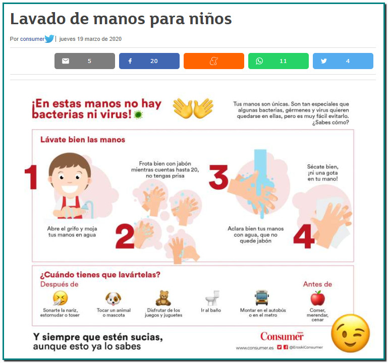 LAVADO DE MANOS PARA NIÑOS por INFOGRAFIA creada por CONSUMER